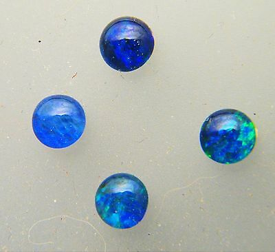Natural Australian Opal Triplet 5mm Round Loose Stones Blue/Green 4 Pack