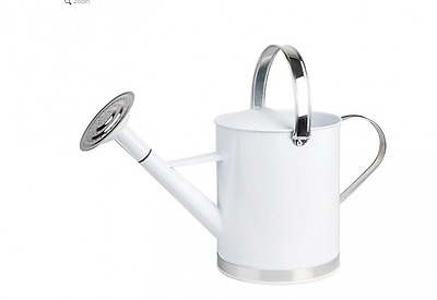 QUALITY White Galvanised Steel & Silver Watering Can Garden Large 45cm w Handle