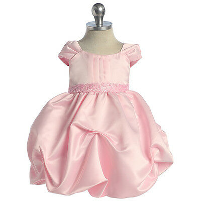 PINK Flower Girl Dresses Toddler Birthday Wedding Bridesmaid Formal Baby Party