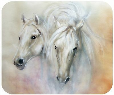 Mouse Pad Custom Personalized Thick Mousepad-Two White Horses-Add Any Text Free