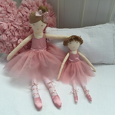 Small Girls Pink Baby Rattle Ballerina Doll Toy Bedroom Nursery Cushion