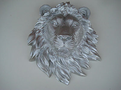 Silver Lion Head Wall Mount Statue Decor Taxidermy Cabin Lodge Log