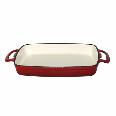Vogue Rectangular Red Cast Iron Dish Large Casserole Cookware Kitchenware