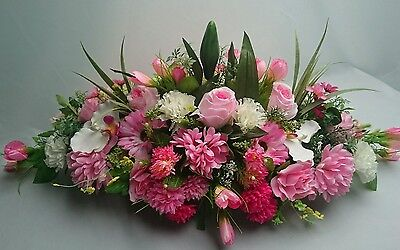 Pink silk flowers, grave wreath, realistic funeral spray memorial lilies & roses