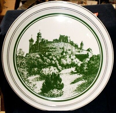 GOEBEL Green Castle Chop Plate Charger 12.5 Handpainted