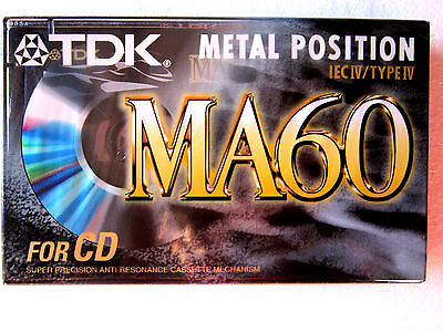 CASSETTE TAPE BLANK SEALED - 1x (one) TDK MA 60 (type IV) [1997] METAL