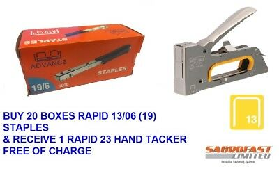 Rapid 13/06 (19) Staples X 20 Boxes With Free Rapid 23 Tacker