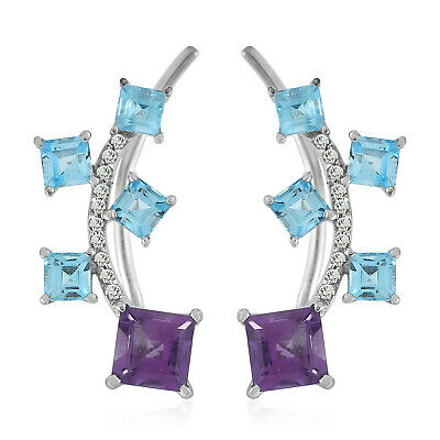 925 Sterling Silver Amethyst Topaz Designer Ear Climber Christmas Gift Special