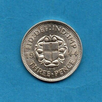 1944 SILVER THREEPENCE COIN. KING GEORGE VI.  SCARCE 3d.