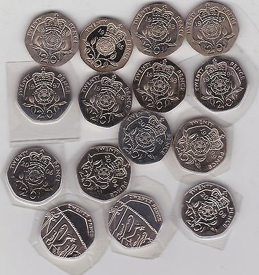 15 Different Dates 1982 To 2012 Twenty Pence Coins In High Grade