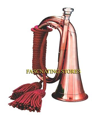 CLASSIC MILITARY / BOY SCOUT SHINY COPPER BUGLE SIGNALHORN w RED TASSELLED CORD