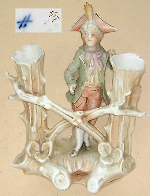 "Sitzendorf: Bud/Spill Vase for Two Posies 18th C. Boy Figurine: 5¾"" Tall"