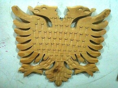 Vintage New Wood Carving Handcrafted Albanian,kosova Eagle-Cute-Rare