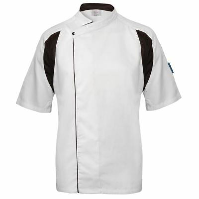 Le Chef Staycool Unisex Men Women White Tunic Jacket Top Short Sleeve Uniform