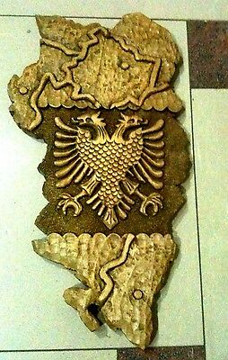 Vintage New Wood Carving Handcrafted Ethnic Albanian,kosova Eagle Map-Cute-Rare