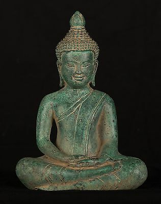 Antique 19th Century Southeast Asia Khmer Meditation Buddha Statue - 21cm/8""