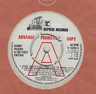 KENNY ROGERS & THE FIRST EDITION Ruby, Don't Take Your Love To Town 4 Track 7""
