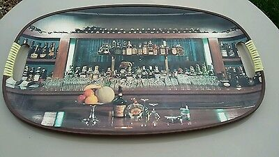 Vintage retro 1950's 1960's Oval Drinks Tray Bar Pub Scene with handles
