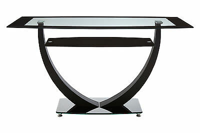 Tempered Clear Black Glass Dining Table Metal Frame Glass Shelf Contemporary