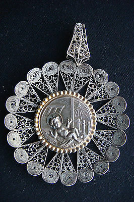 Infant Jesus Filigree Silver Handmade Vintage Beautiful Religious Large Pendant
