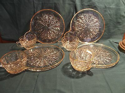 vintage snackplate set of 4 cut glass with gold accent trim by jeannette glass