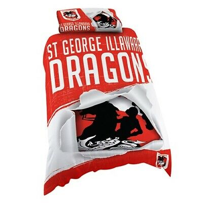 St George Dragons NRL Single Quilt Doona Cover Pillowcase BNWT
