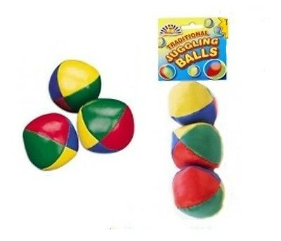 3 x TRADITIONAL JUGGLING BALLS CIRCUS BEANBAG CLOWN LEARN TO JUGGLE COLOURED