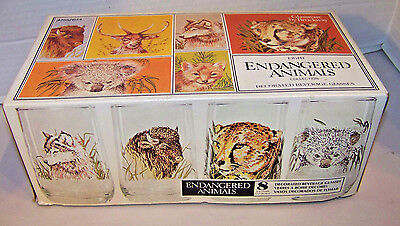 8 Original Vintage Endangered Animal Drinking Glasses Nib Brockway Glass