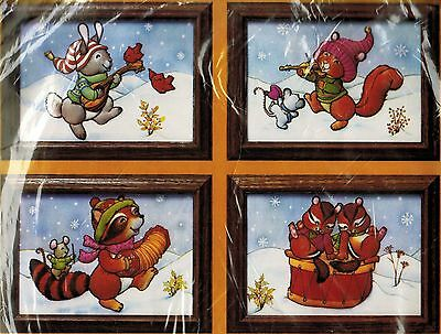 Vtg Creative Circle Music Maker Rabbit Squirrel Raccoon Skunk Embroidery Kit 5x7
