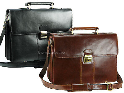 Visconti Large Luxury Genuine Leather Briefcase Shoulder Laptop Bag - 01775