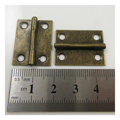 10 x ANTIQUE BRASS 25mm x 19mm HINGES CABINET LID CASE HARDWARE H674