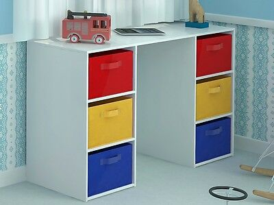 Childrens Small Computer Desk White Bedroom Furniture Kids Table Canvas Storage