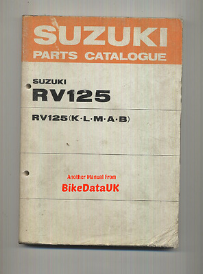 Genuine Suzuki RV125 K L M A B (1973-1977) Parts List Catalogue Book RV 125 2T