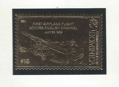 Dominica-1'st Airplane Flight Across English Chanel 1909 Gold Foil 23K stamp MNH
