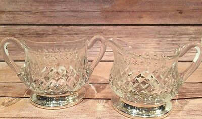 Signed Hawkes Cut Crystal Sterling Footed Creamer & Sugar Bowl %