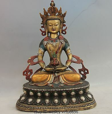 11 Tibet Cloister Copper Color Painted Longevity Amitayus Buddha Kwan-Yin Statue