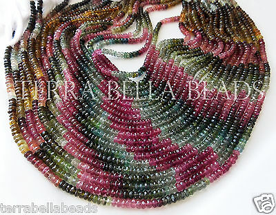 """7"""" AAA WATERMELON TOURMALINE faceted gem stone rondelle beads 4mm - 4.5mm multi"""