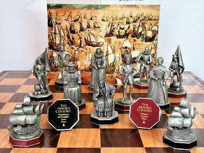 "Vintage Large Dambury Mint""the Armada"" Historical  Pewter Chess Set + Board"