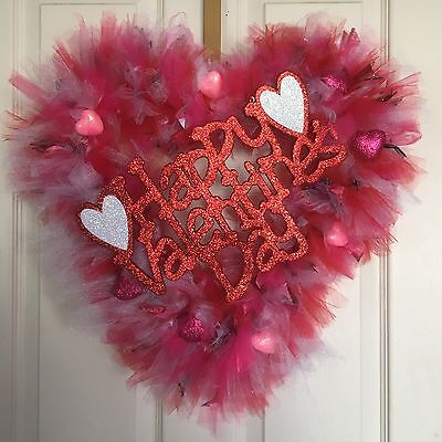 Valentine S Day Heart Shaped Wreath Red Pink White Tulle Printed Ribbons