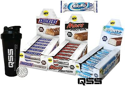 SNICKERS PROTEIN BARS 51g x 18 - BOUNTY MILKY WAY MARS PROTEIN BAR + SHAKER
