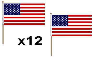 "Pack Of 12 (18""x12"") USA United States America Hand Waving Flags 24"" Wooden Pole"