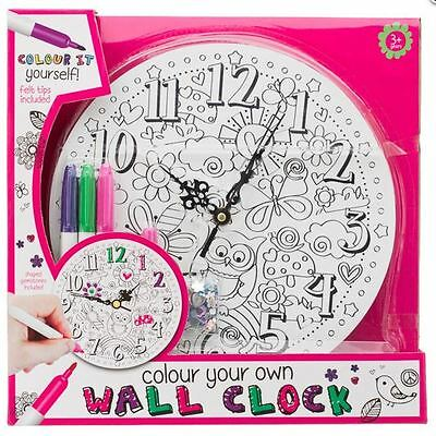 Colour Your Own Wall Clock Kids Girls Childrens Bedroom Decoration Butterfly Fun