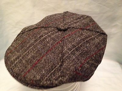 bf1a11beccb Grey With Red Scottish Harris Tweed 4 Quarter Scots Bunnit Flat Cap Driving  Hat