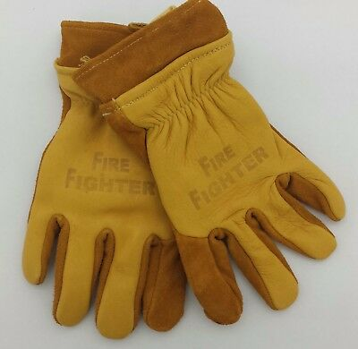 Brown Leather Firefighter Gloves