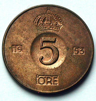 1953 SWEDEN Coin - 5 Ore - AU+ red/brown