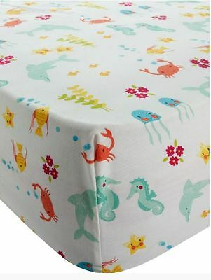 Dolphin Sea Mermaid Kids Childrens Girls Single Fitted Sheet Bedroom Bedding