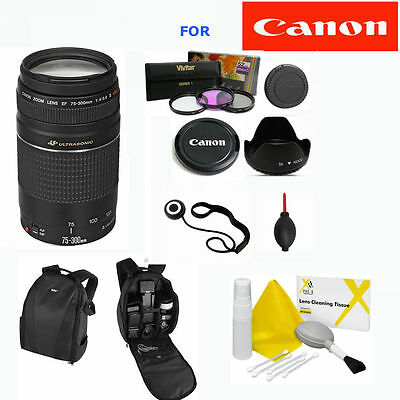 Canon EF 75-300mm f/4.0-5.6 III LENS + BACKPACK + GIFTS FOR CANON EOS REBEL DSLR