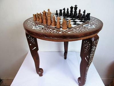 Vintage Indian Inlay Chess Table And Chess Set Nice