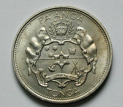 1967 TONGA (Pacific Island Nation) Pa'anga Coin AU+ toned - crown-size coin 38mm