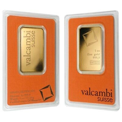 Lot of 2 - 1 oz Gold Bar Valcambi Suisse .9999 Fine (In Assay)